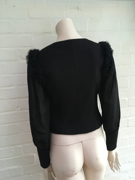 Chanel 09A Black Pure Cashmere Lamb Fur Trim Jacket Ladies