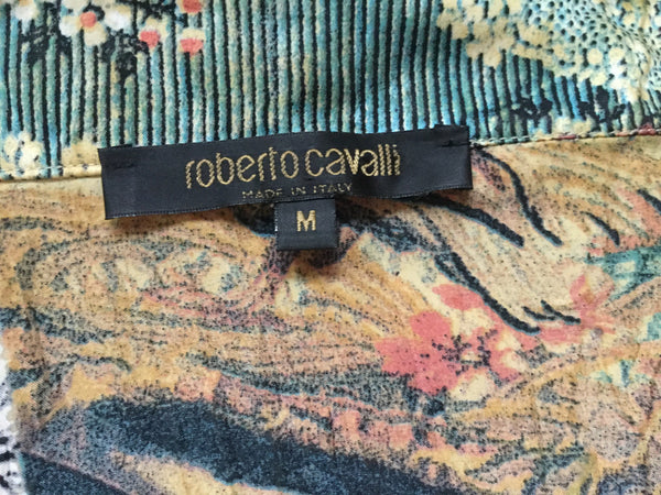 ROBERTO CAVALLI SILK BUTTON-UP TOP SHIRT SIZE M MEDIUM LADIES