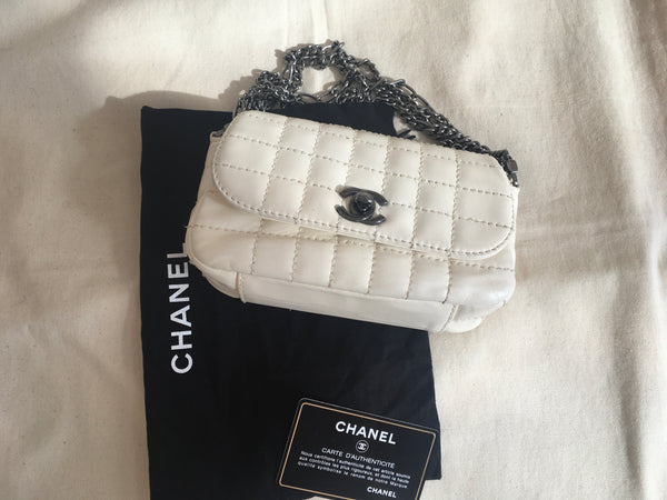Chanel White Square Quilted Leather Mini Flap Handbag Multi Chain Bag Rare Ladies