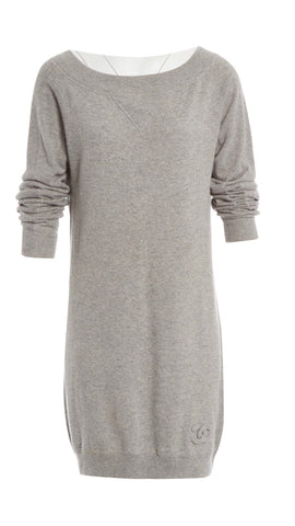 Chanel 2014 Knitted Cashmere Grey Sweater Dress Ladies
