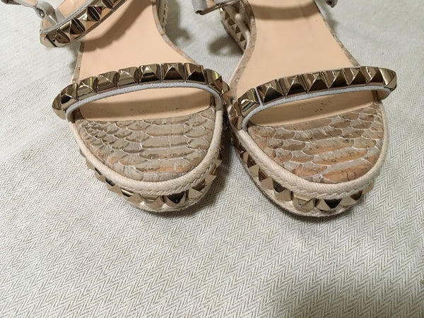 CHRISTIAN LOUBOUTIN Studded Cataclou Platform Shoes Espadrille Sandals Size 38 Ladies