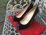 CHRISTIAN LOUBOUTIN Asteroid 140 suede and patent-leather pumps shoes 39 1/2 Ladies