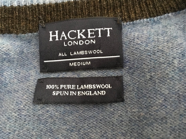 HACKETT LONDON LAMBS WOOL KNIT V NECK BLUE SWEATER JUMPER  Men