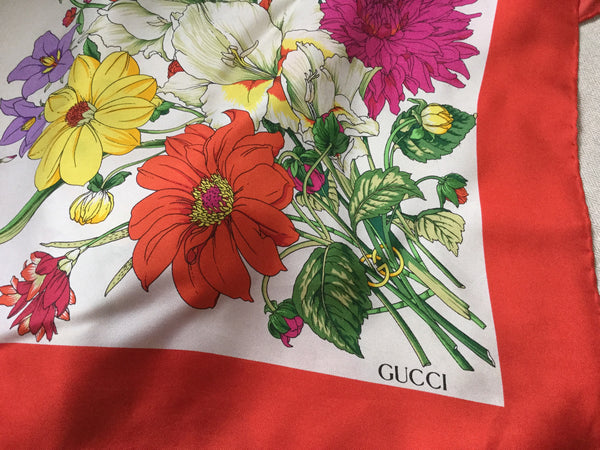 GUCCI SILK FLORA SCARF FLOWER PRINT LADIES