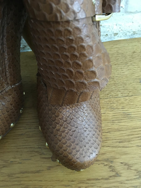 MULBERRY TAN D-RING PYTHON SNAKESKIN Boot Booties Brown Size 37 UK 4 US 7 Ladies