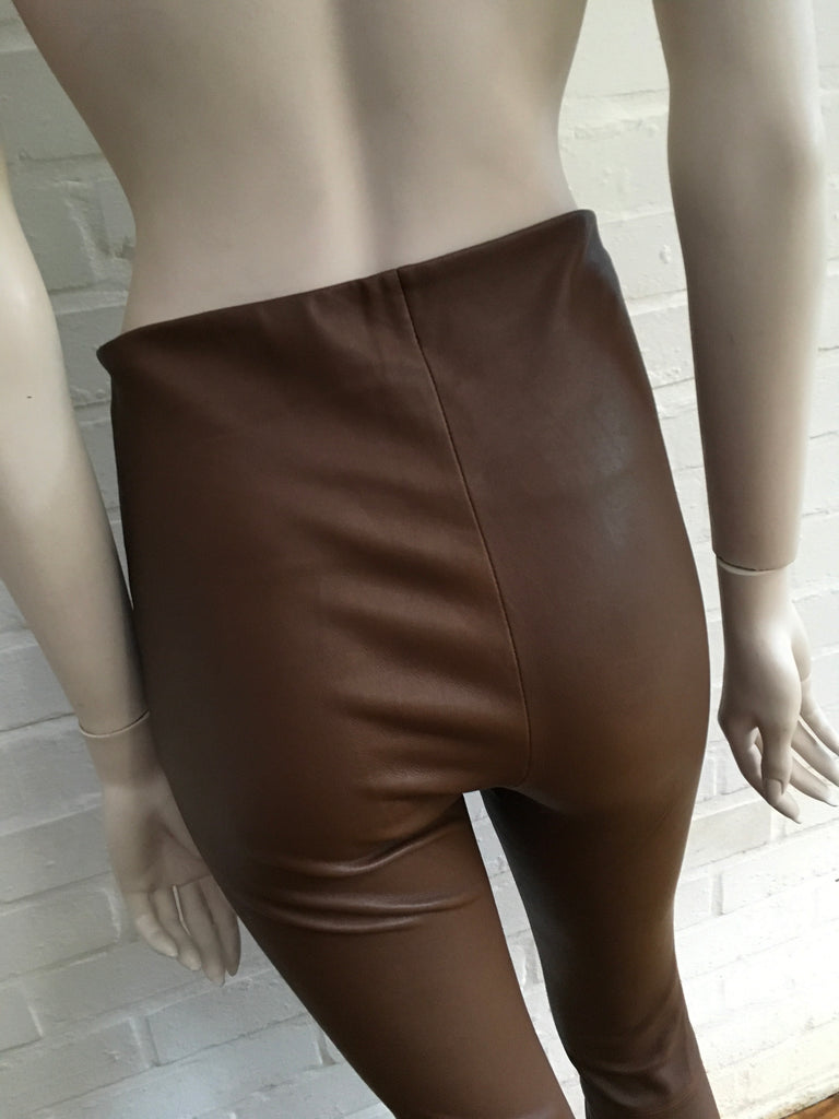 0875b84a7d1168 ... By Malene Birger Brown 'Elenaso' Skinny Leather Pants Trousers Ladies  ...