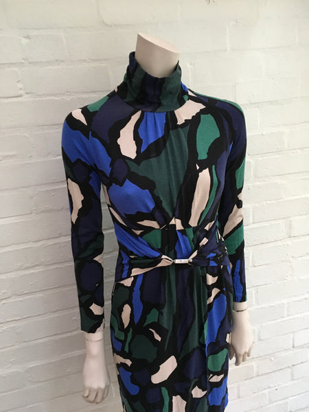 D. Exterior blue printed dress for women Ladies