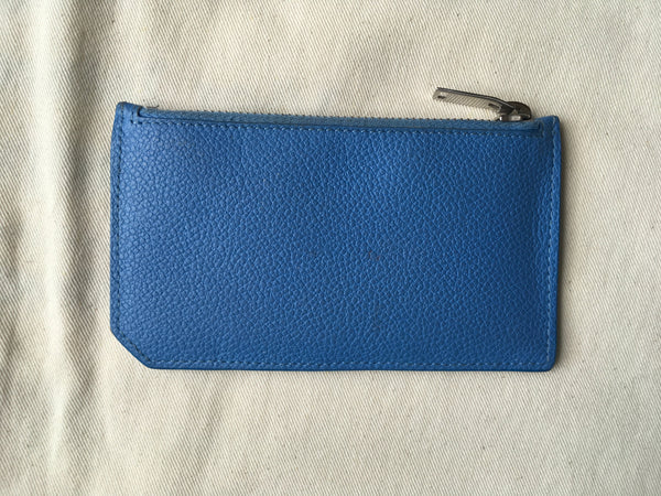 Saint Laurent YSL Women's Blue Leather Zippered Fragments Card Holder Ladies
