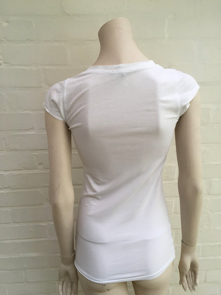 Theory White Classic T Shirt Scoop neckline top Ladies