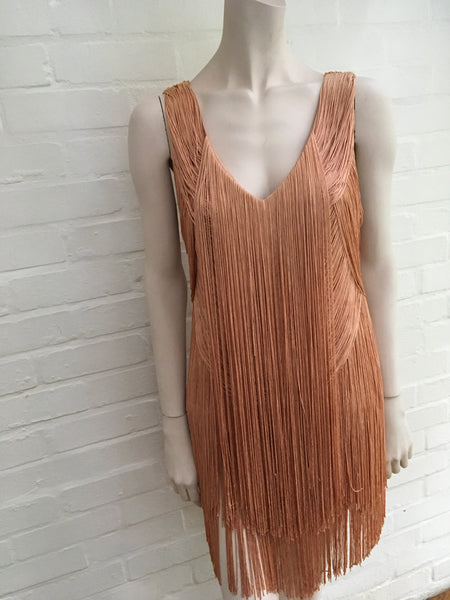 HAUTE HIPPIE Short Fringe Flapper Dress Nectar Size M Medium Ladies