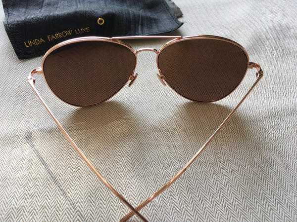 LINDA FARROW 128 C6 AVIATOR SUNGLASSES Rose Gold 22ct Gold Ladies