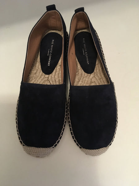 THE WHITE COMPANY Suede Espadrilles - Navy Shoes Size 38 Ladies