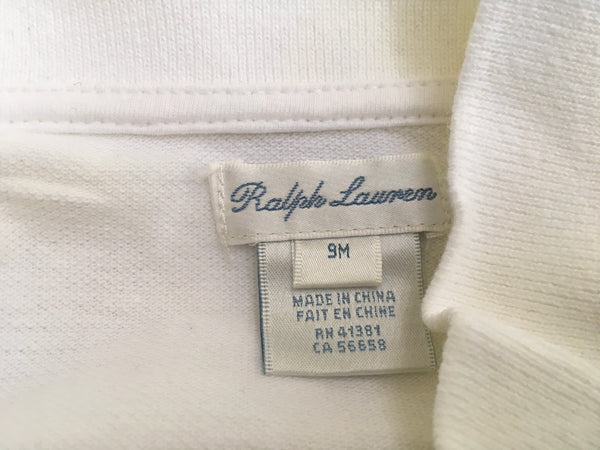 RALPH LAUREN WHITE BABY BODY LONG SLEEVE ALL IN ONE SIZE 9 MONTH Children