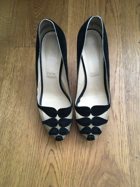 Christian Louboutin Moira Black Mesh Suede Pumps Shoes Ladies