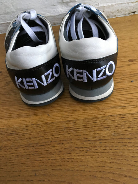 KENZO Eye Tiger-print leather and canvas SNEAKERS TRAINERS SHOES Sz 38 UK 5 US 8 Ladies