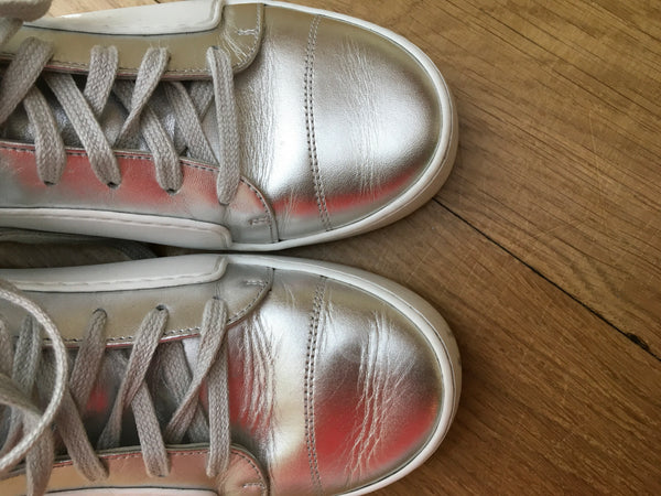 CHANEL SILVER HIGH TOP SNEAKER TRAINERS Ladies
