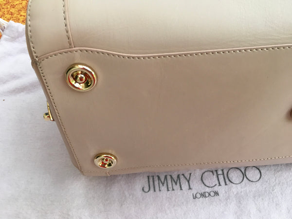JIMMY CHOO Leather Tahula Hillary Beige Doctor Bag Handbag Ladies