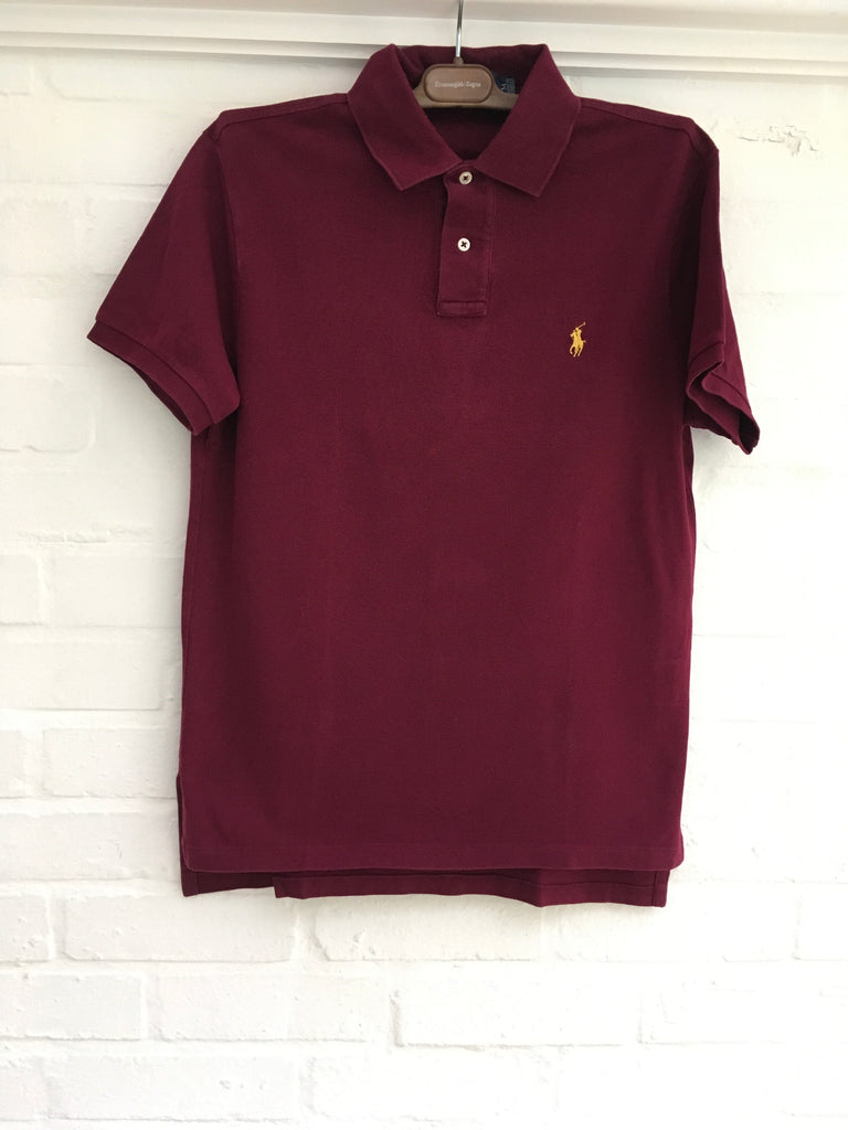 Polo Ralph Lauren Custom Fit L//S Rowing Club Rugby Patch Stripe Blue Polo Shirt
