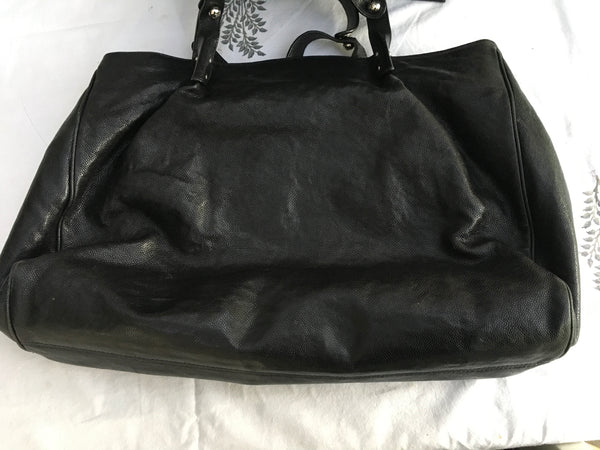 CHANEL Glazed Caviar Large Pocket In The City Tote Travel Bag Handbag Ladies
