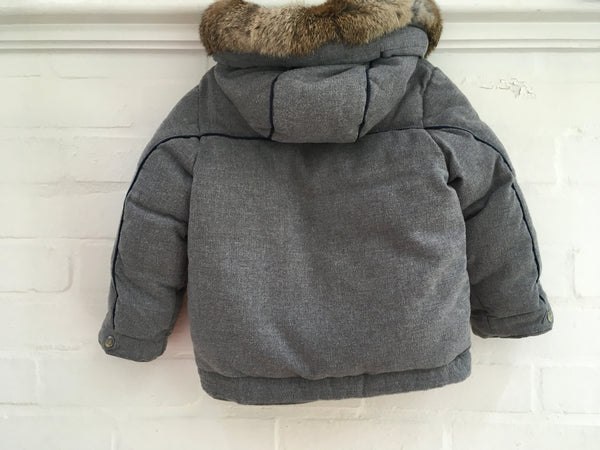 Tartine et Chocolat Rabbit Fur Trim Padded Coat Jacket Children
