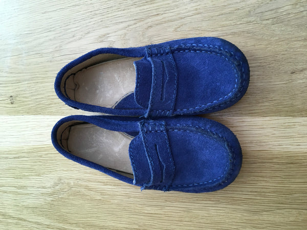 JACADI Blue Leather Shoes Loafers Moccasins Size 27 Boys Children