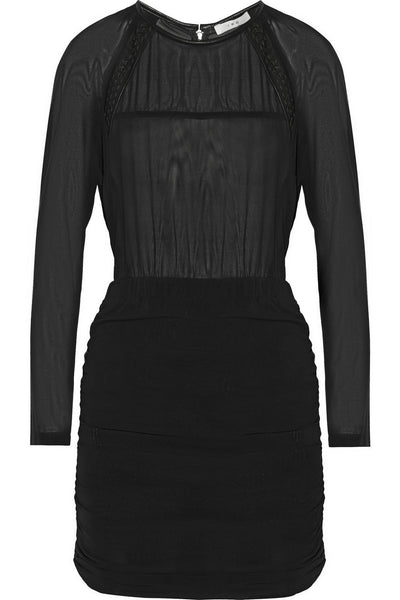 IRO Black Stepy Leather-Trimmed Stretch-Dress Size F 36 UK 8 US 4 S Small