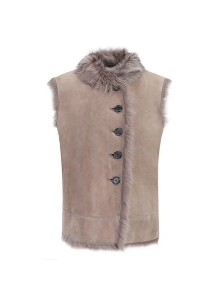 Joseph Lucy Toscana Gilet SHEEPSKIN GREY SHEARLING Vest Size F 38 UK 10 US 6 Ladies