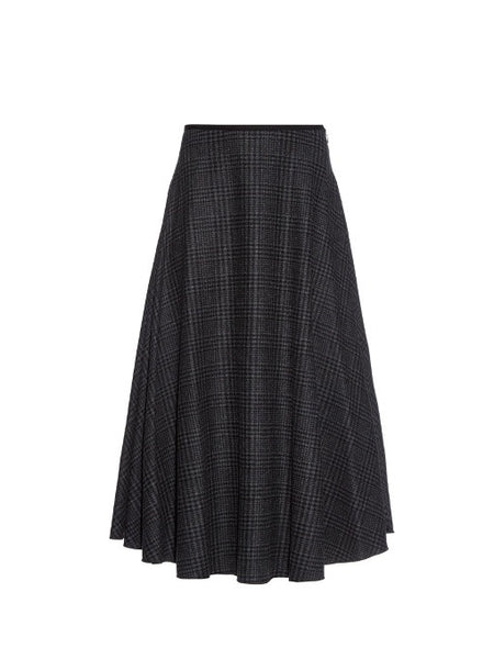 LANVIN Hiver 2015 Prince Of Wales-Check Wool Skirt Size F 38 S Small New LADIES