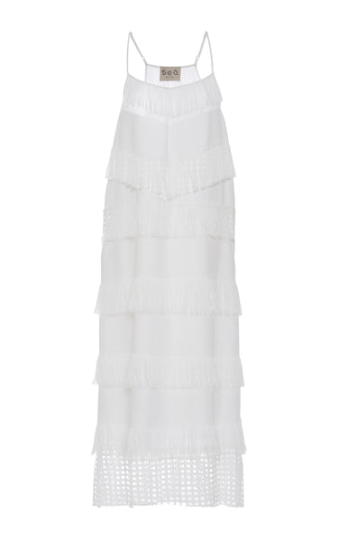 SEA NEW YORK Fringed Cotton Tank Dress in White SIZE US 8 UK 12 L Large Ladies