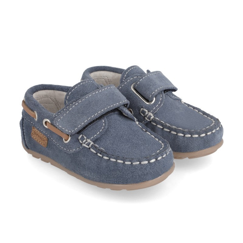 GARVALIN 50 aniversario Boys Shoe Navy Blue Suede Leather Size 20 Children