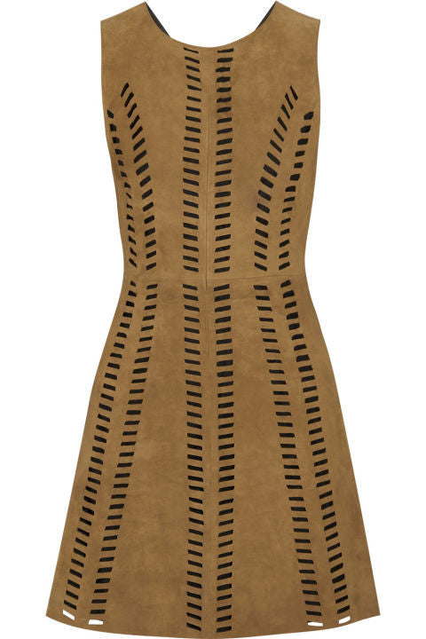 MAJE Rigolette perforated suede mini dress 2015 Collection Sz 2 M Medium  LADIES