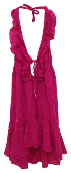 RALPH LAUREN Pink Rose Ruffle Halter Dress Cover-up/Sarong  Ladies