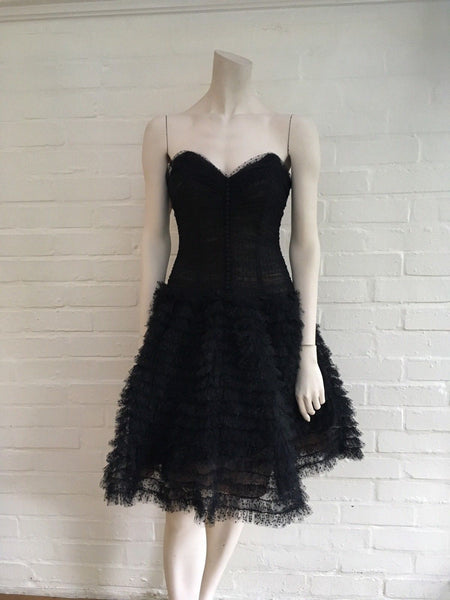 Oscar de la Renta Rare Vintage 1960's Corset Lace Ruffle Dress  Ladies
