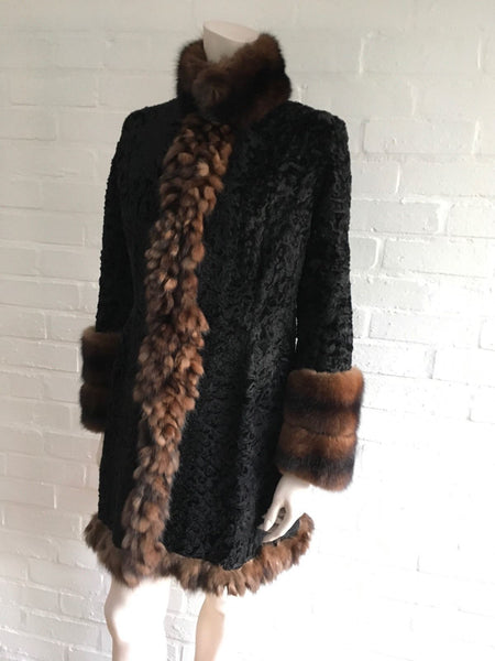 AMAZING PERSIAN LAMB ASTRAKAN AND SABLE TRIM FUR COAT SIZE S SMALL Ladies