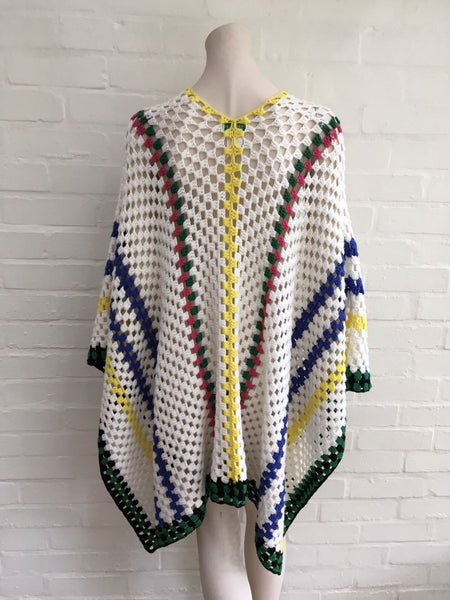 Mira Mikati Women's Crochet Stripes Wool Poncho One Size Fits All Ladies