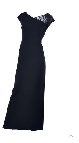 Valentino Boutique 90's Formal Gown Evening Dress Black Long Elegant US 4 UK 8 LADIES