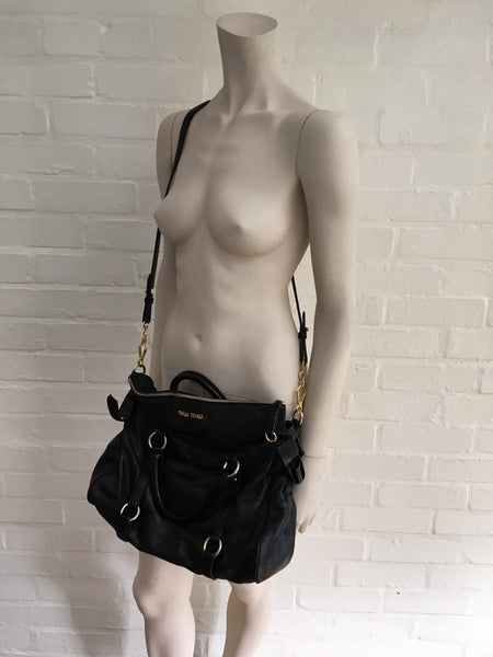 Miu Miu Lux distressed leather satchel hobo bag handbag messenger Ladies