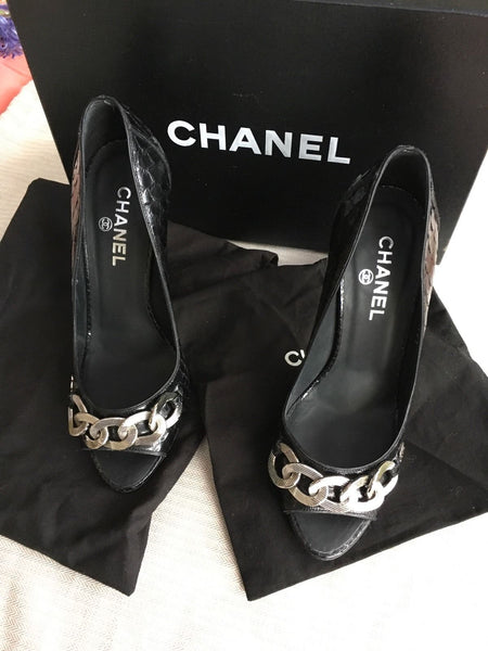 CHANEL CC CHAIN-LINK PYTHON SNAKESKIN Shoes Pumps Size 36 UK 3 US 6 LADIES