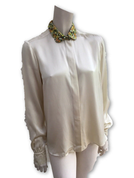 Stella McCartney Ivory Silk Blouse With Fruit Print Collar Ladies