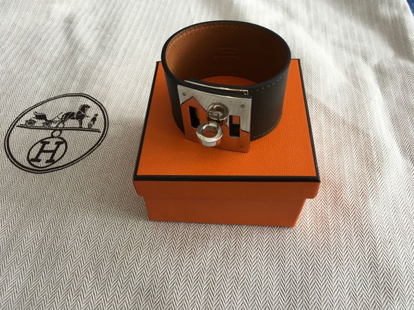 Hermes Hermès Kelly Dog Leather Cuff Bracelet Palladium Ladies