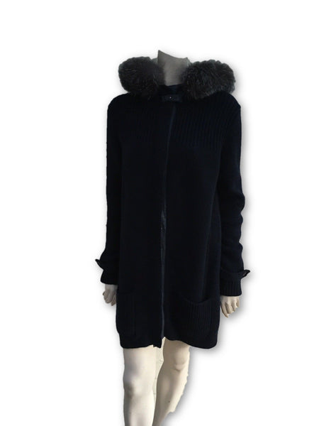 Loro Piana Navy Knit Cashmere Long Cardigan Fox Fur Suede Trim I 42 UK 10 Ladies