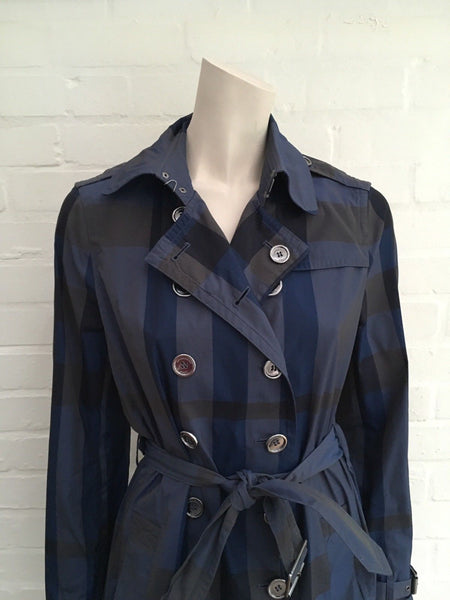 BURBERRY Brit Check Plaid Blue Mid-Length Belted Trench Coat Ladies
