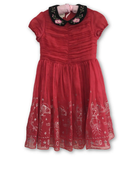 GUCCI 2017/2018 GIRLS EMBROIDED RED BLIND FOR LOVE SILK DRESS CHILDREN