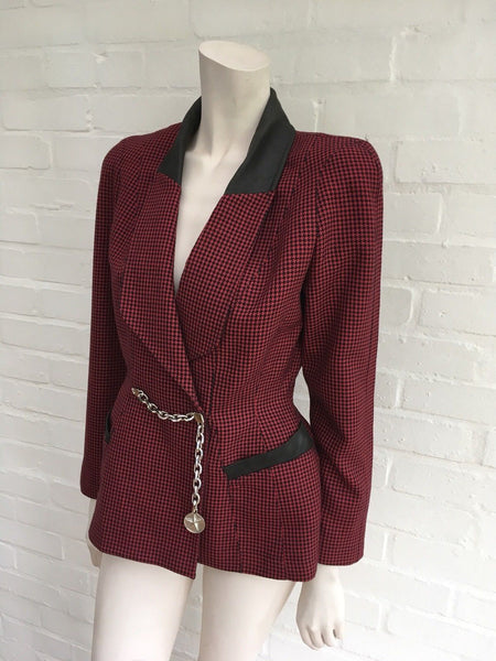 Thierry Mugler Rare 1940's Houndstooth Wool Blazer Jacket Ladies
