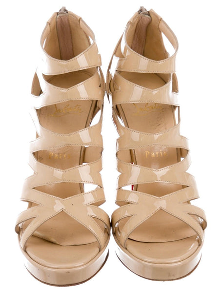Christian Louboutin Beige Patent Leather Cage Sandals Ladies