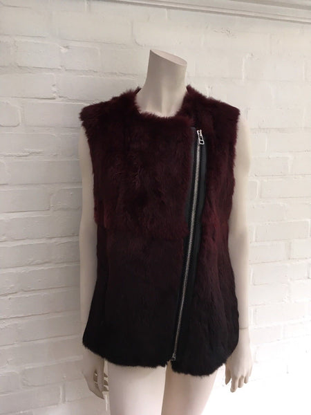 Sandro Women's Red Amaranth Rabbit Fur Vest with Leather Trim Size 1 S Small Ladies