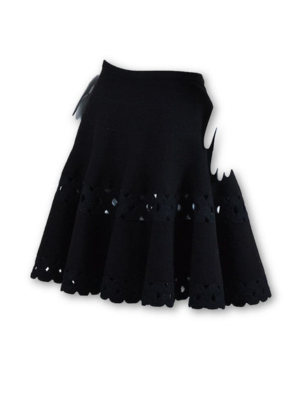 AZZEDINE ALAÏA ALAIA Black Fleece Wool Blend Laser Cut Short Swing Skirt Ladies