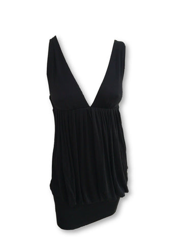 CATHERINE MALANDRINO DRESS $525.00 BLACK SEXY WIDE NECKLINE  Ladies