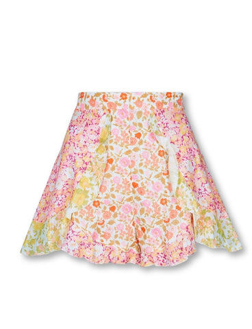 ZIMMERMANN Floral Goldie Spliced Frill linen shorts Size 1 UK 10 US 6 ladies