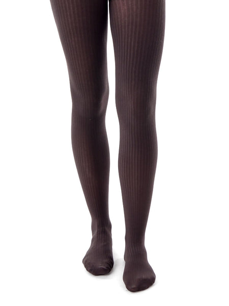 Falke Tights Tight Cotton Elegance Knit Dark Brown Pinstripe 4865  Ladies